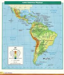 South America Physical Map by Adams S Latin America Project Links