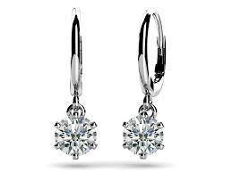 drop diamond earrings six prong solitaire diamond drop earrings