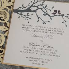 bird wedding invitations chgne gold bird laser cut wedding invitation set with tags