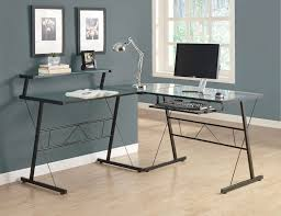 Glass And Metal Corner Computer Desk Multiple Colors Top Style Black L Shaped Desk Black L Shaped Desk With Glass