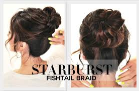 plait at back of head hairstyle starburst fishtail braid bun hairstyle cute back to school