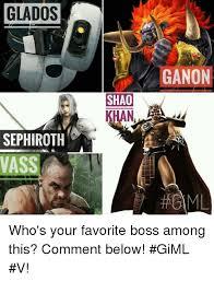 Sephiroth Meme - glados sephiroth vass shao ganon who s your favorite boss among