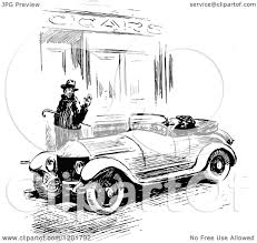 vintage cars clipart clipart of a vintage black and white man waving at a driver of a