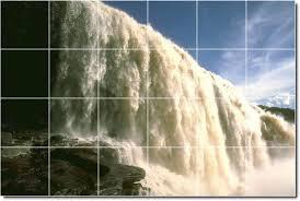waterfalls image tile wall mural kitchen backsplash floor modern