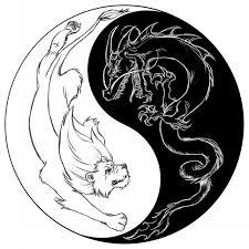 view black white tiger yin symbol design in