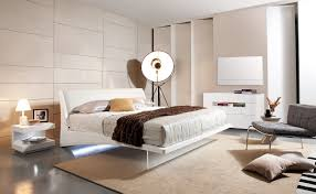 Floating Beds by Volterra Contemporary Floating White Queen Bed With Lights