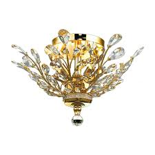 crystal semi flush mount lighting shop elegant lighting orchid 20 in w gold crystal semi flush mount