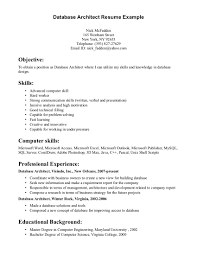 Resume Sample Computer Skills by Excellent Database Architect Resume Template Plus Skills And