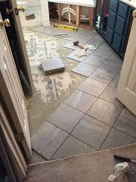 tile flooring ideas for bathroom carpeted bathroom gets a tile floor hometalk