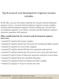Sample Engineering Resumes by Top8researchanddevelopmentengineerresumesamples 150512081507 Lva1 App6891 Thumbnail 4 Jpg Cb U003d1431418535