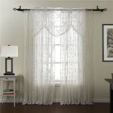 Modern Floral Curtain Panels White Floral Pattern Sheer Curtains Of Embroidery Style