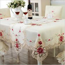 party table covers europe style wedding tablecloth embroidered floral lace edge