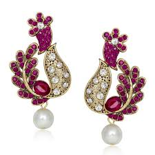 design of earrings buy meenaz colour design gold rhodium plated earring