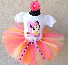 girls hbb 1st birthday pink and orange minnie mouse silhouette