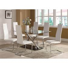 White Faux Leather Chair Modern Dining White Faux Leather Dining Chair With Chrome Legs
