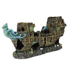 ak212 aquarium lost cruise wreck ship fish tank resin ornament