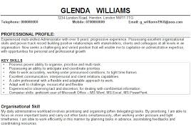 Example Of Good Hobbies For Resume by Cv Examples Administration Jobs