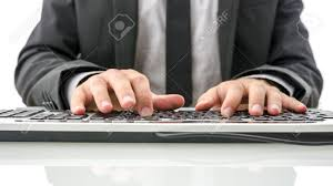 Office Table Front View Front View Of Insurance Agent Typing On Computer On His White