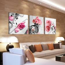 home decor canvas oil painting canvas art wall decor pink rose flower cuadros bedroom spray painting