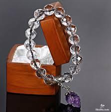 skull crystal bracelet images Faceted natural quartz rock crystal beads stretch bracelet with jpg