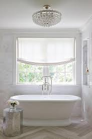 crystal semi flush mount lighting marble niche shelves over tub transitional bathroom