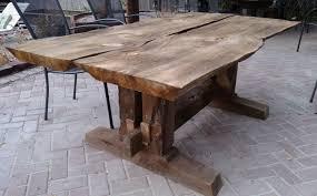 rustic live edge patio table with box beam trestle patio