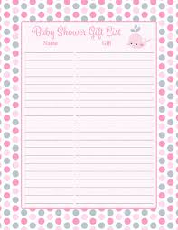 baby shower gift list set printable pink gray whale