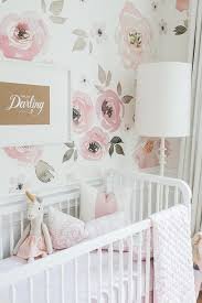 whimsical pink nursery design with hello darling print