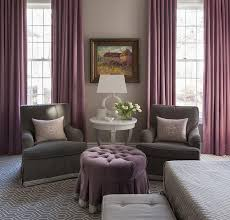 Purple Design Curtains Gray Velvet Roll Arm Chairs With Purple Curtains Contemporary