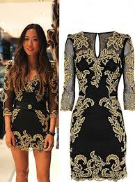 buy new arrival gold embroidery long sleeves short mini black