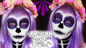 Purple Halloween Eye Makeup by Halloween Sugarskull Day Of The Dead Makeup Tutorial Laura