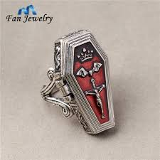 coffin ring jewelry cross bat crown open coffin ring 040jz on