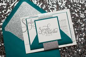 teal wedding invitations real wedding and peacock teal and silver glitter