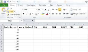 Table Of Trigonometric Values Best Excel Tutorial How To Use Trig Functions In Excel