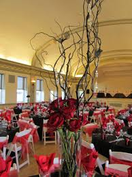 wedding table centerpieces branches red gold brown willow branch