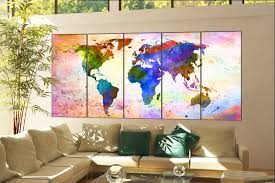 World Map Canvas Art by Wall Art World Map Print On Canvas Wall Art World Map Print Decor
