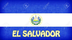 Salvadoran Flag Linen Flag Of El Salvador With Letters Stitched On It Stock Photo