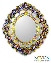 unique floral wood reverse painted art glass wall mirror golden