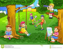 giardino bambini bambini giocano nel giardino illustrazione vettoriale
