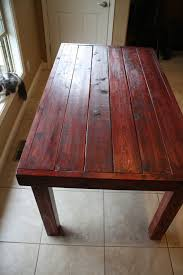 Beautiful Dark Red Oak Stained Primitive Kitchen Table Custom Made - Primitive kitchen tables