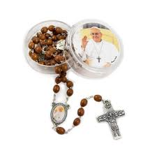 pope francis rosary oval wood bead pope francis rosary with pectoral cross