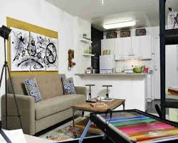small living room layout combined with cute kitchen design using