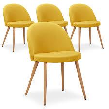 chaises jaunes lot de 4 chaises style scandinave cecilia