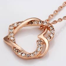 rose gold necklace fashion images Rose gold color silver color rhinestone crystal double heart jpg