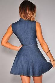 stretch dark blue denim belted sleeveless skater dress