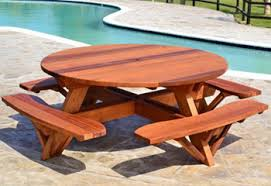 heavy duty round picnic table redwood tables patio furniture forever redwood
