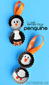 bottle cap penguin craft for ornament idea crafty morning