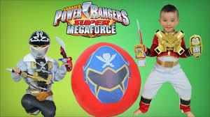 power rangers super megaforce giant surprise toys egg opening