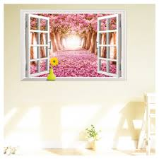 Pink Removable Wallpaper by 3d Fake Window Landscape Cherry Trees Removable Wallpaper Mural