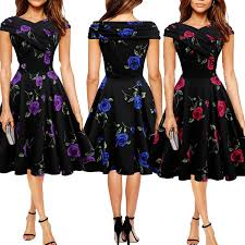 vintage christmas cocktail party new women vintage rockabilly dress slash neck floral print prom